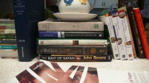 """My """"box and crate"""" books. I threw the Door of Hope book on there for the pic, normally that one's in my office."""